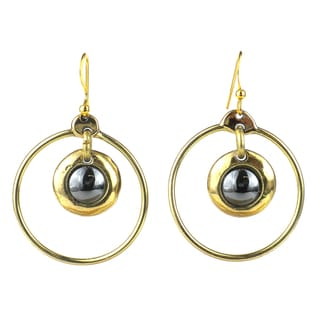 Handmade Encircled Hematite Brass Earrings (South Africa)