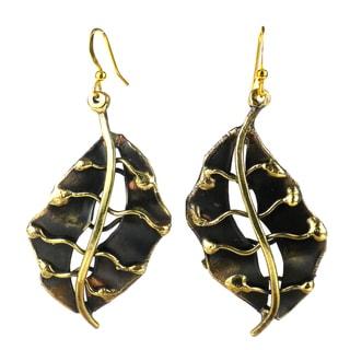 Handmade Fall Leaf Brass Earrings (South Africa)