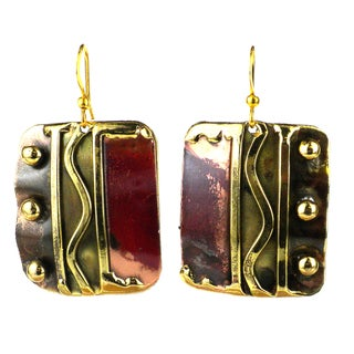 Handmade Trifecta Brass and Copper Earrings (South Africa)