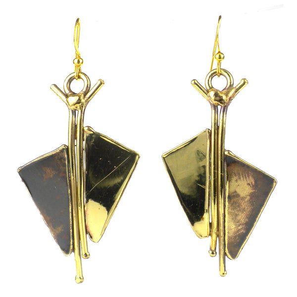 Handmade Full Sail Brass Earrings (South Africa)
