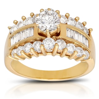 14k Yellow Gold 2ct TDW Round Engagement Ring (J-K, I1-I2)