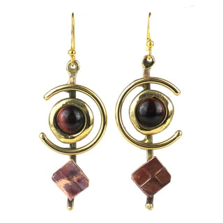 Earthy Red Tiger Eye C Brass and Copper Earrings (South Africa)