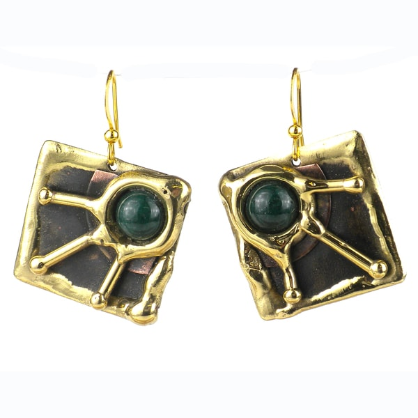Handcrafted Green Jade Rays Brass Earrings (South Africa) 10918505