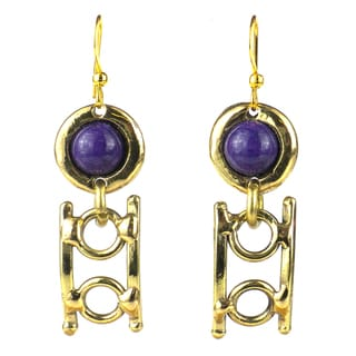 Handcrafted Purple Jade Playground Brass Earrings (South Africa)