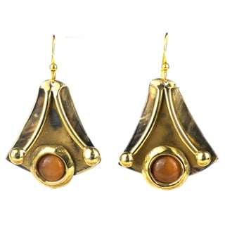 Handcrafted Reborn Peach Tiger's Eye Brass Earrings (South Africa)