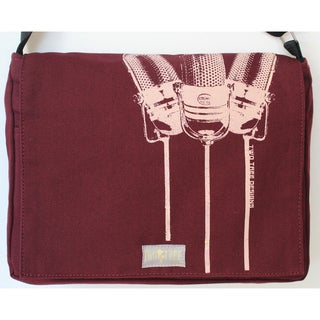 Handmade Medium Burgundy Microphone Messenger Bag