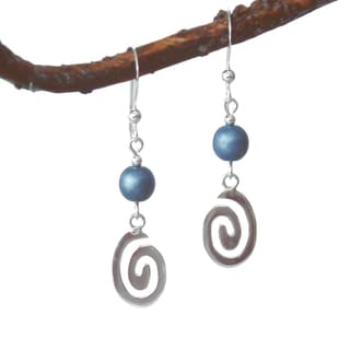 Oval Swirl Sterling Silver Earrings