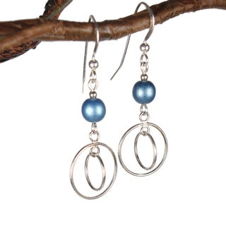 Double Hoops With Blue Glass Sterling Silver Earrings