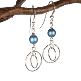 Jewelry by Dawn Double Hoops With Blue Glass Sterling Silver Earrings