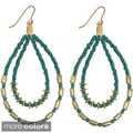 Handcrafted Colorful Seed Bead DoubleTeardrop Earrings (India)