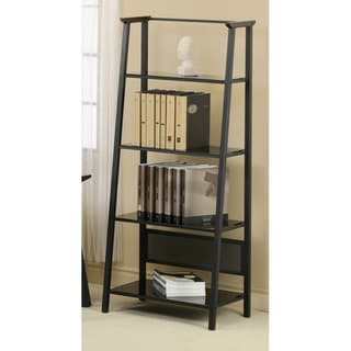 Dark Walnut Accent Black Metal 67-Inch Bookcase
