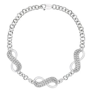 10k Gold or Sterling Silver 1/4ct TDW Diamond Infinity Bracelet (J-K, I1-I2)
