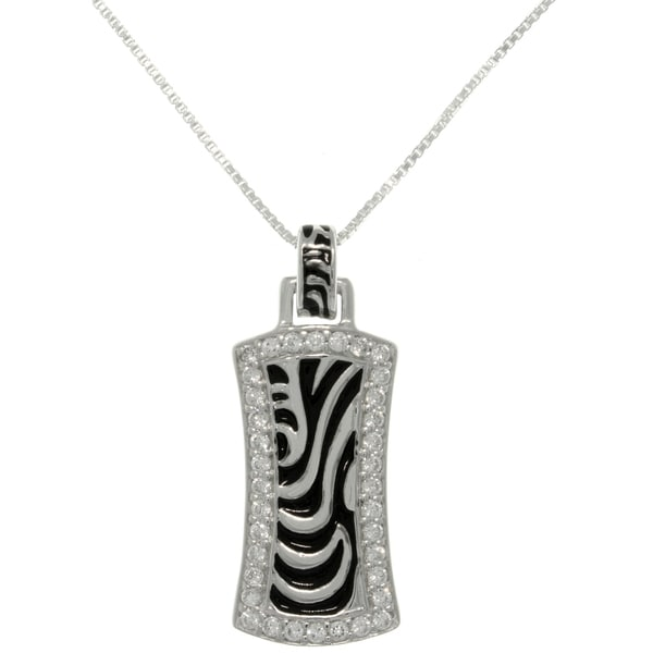 CGC Silver CZ Zebra Stripe Rectangle Necklace