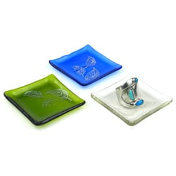 Etched Leaf Recycled Glass Ring Tray (Chile)
