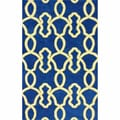 nuLOOM Handmade Lattice Trellis Blue Wool Rug (5' x 8')