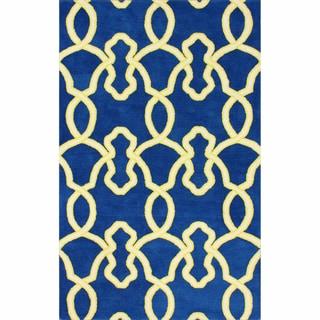 nuLOOM Handmade Lattice Trellis Blue Wool Rug (7'6 x 9'6)