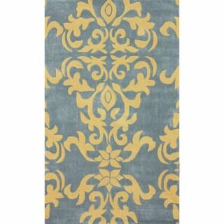 nuLOOM Handmade Damask Grey Rug (5' x 8')