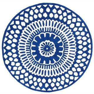 nuLOOM Handmade Lattice Blue Rug (8' Round)