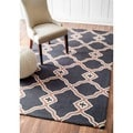 Rug Collective Handmade Marrakesh Trellis Charcoal Wool Rug (7'6 x 9'6)