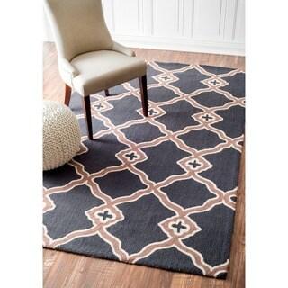 nuLOOM Handmade Marrakesh Trellis Charcoal Wool Rug (8'6 x 11'6)