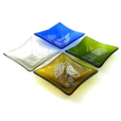 Etched Leaf Small Recycled Glass Dish (Chile)
