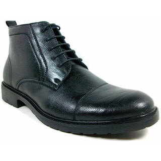 Polar Fox Men's Black Leatherette Oxford Dress Boots