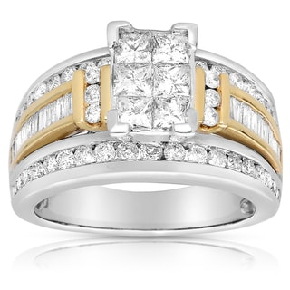 14k Two-tone Gold 2ct TDW Princess Diamond Ring (G-H, I1-I2)
