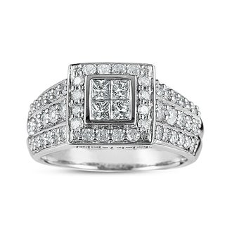 14k White Gold 1ct TDW Halo Princess Diamond Ring (G-H, I1-I2)