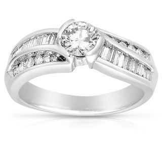 14k White Gold 1ct TDW Bezel Set Round and Baguette Diamond Ring (G-H, I1-I2)