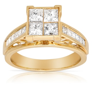 14k Yellow Gold 1 1/2ct TDW Diamond Engagement Ring