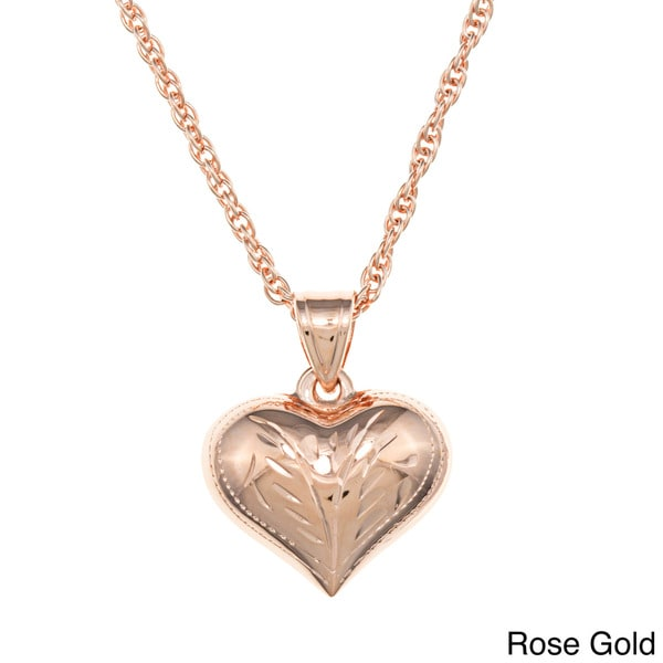 Sterling Essentials Medium Engraved Puff Heart Rope Chain Necklace