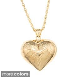 Sterling Essentials Large Engraved Puff Heart Rope Chain Necklace