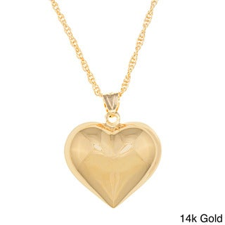 Sterling Essentials Large Polished Puff Heart Necklace