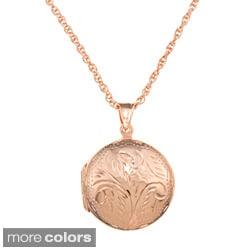 Sterling Essentials Large Engraved Round Locket Necklace