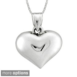 Sterling Essentials Silver Puffed Heart 18-inch Rope Chain Necklace