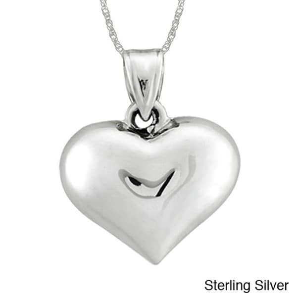 Sterling Essentials Silver Puffed Heart 18-inch Rope Chain Necklace 10920770