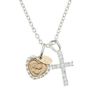 Sterling Essentials 14k Gold Overlaid Silver Kissing Angel and Holy Cross Necklace