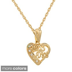 Sterling Essentials 14k Gold Plated Silver CZ 15 Anos Heart Pendant Necklace