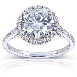 14k White Gold 8-mm Moissanite and 1/4ct TDW Diamond Engagement Ring (G-H, I1-I2)