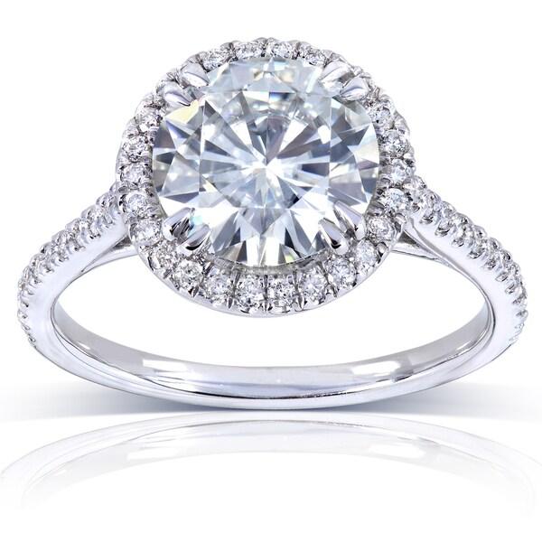 Annello 14k White Gold 8-mm Moissanite and 1/4ct TDW Diamond Engagement Ring (G-H, I1-I2)