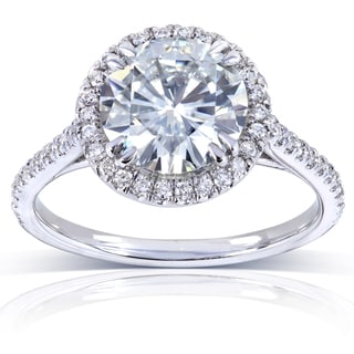 Annello 14k White Gold 8-mm Moissanite and 1/4ct TDW Diamond Engagement Ring (G-H, I1-I2)