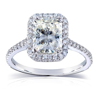 Annello 14k White Gold Radiant-cut Moissanite and 1/4ct TDW Diamond Engagement Ring (G-H, I1-I2)