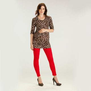 Ashley Nicole Women's Maternity Giraffe Print Tunic Top