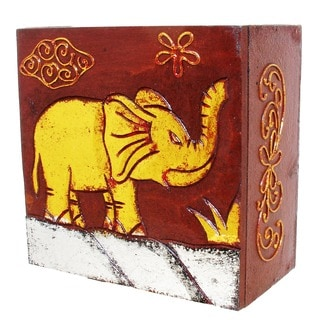 Hand-carved Brown/ Goldtone 6-inch Elephant Box (Indonesia)