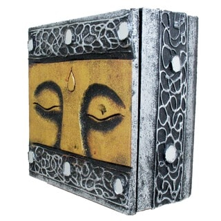 Hand-carved Silvertone/ Goldtone Buddha Eyes 6-inch Wooden Box