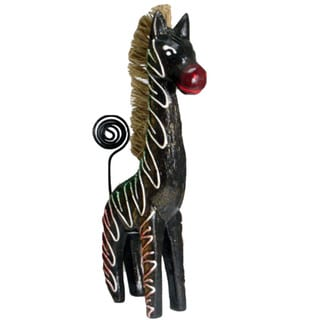 Hand-painted 6-inch Brown Zebra Figurine (Indonesia)