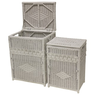 White Wicker Hamper Chests (Set of 2)