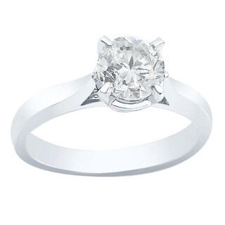 Auriya 14k White Gold 1ct TDW Clarity-enhanced Diamond Engagement Ring (F-G, SI1)