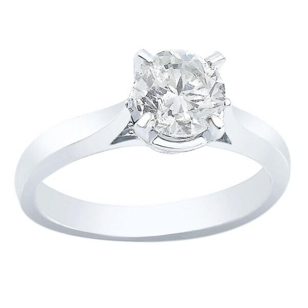 Auriya 14k White Gold 1ct TDW Clarity-enhanced Diamond Engagement Ring (F-G, SI1)