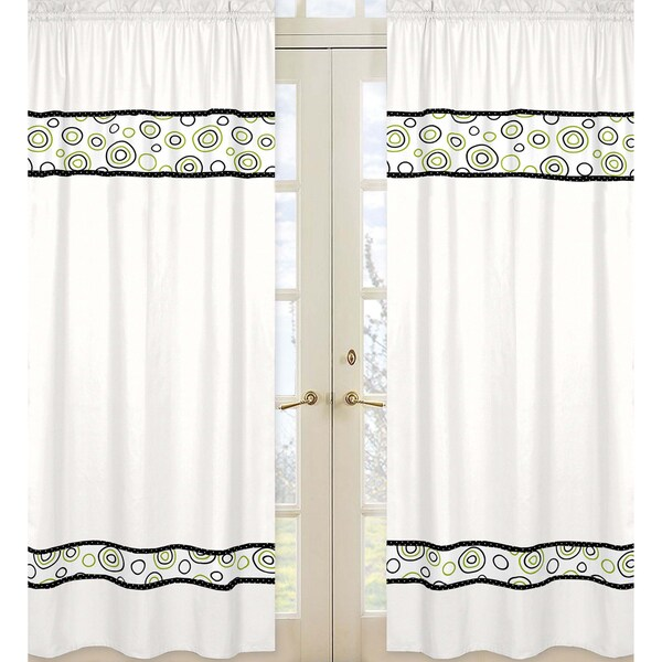 Sweet Jojo Designs Black, White and Lime Green 84-inch Window Treatment Curtain Panel Pair for Spirodot Collection